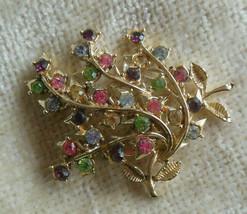 Vintage Coro Gold-tone Multi-color Rhinestone Leaf Brooch - $55.00