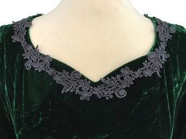 Vintage Crashed Velvet Forest Green Heart Shaped Crochet Lace Trimmed Full Lengt image 5