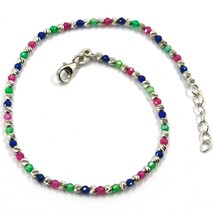 18K WHITE GOLD BRACELET, FACETED WORKED 2mm BALLS, BLUE GREEN RED CUBIC ... - $299.00