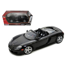 Porsche Carrera GT Black with Black Interior 1/18 Diecast Model Car by M... - $54.06