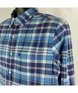 American Eagle Mens Medium Blue Pink Plaid Checks Shirt Long Sleeve Clas... - $19.99