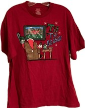 Tis The Season Christmas Men T-Shirt XL(46-48) Holiday Santa Watching Fo... - $12.99