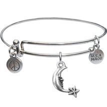 Bangle Bracelet and Moon And Star Charm - $12.75