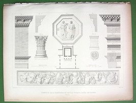 ITALY Rome Details Temple of Honor !! 1850 Antique Print  Engraving - $12.15