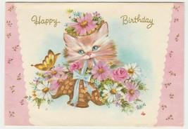 Vintage Birthday Card Kitten Flowers Butterfly Quaint Shop Original 1960... - $8.90