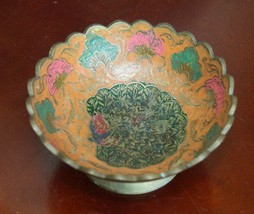 """ANTIQUE COMPOTE BRASS HAND PAINTED BOWL PEACOCK4.5"""" W x 2""""H ORANGE SCALL... - $19.99"""