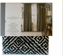Threshold Black Diamond Print Window Panel Curtain Either Rod or Pockets... - $21.33