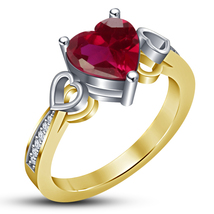 14k Yellow Gold Plated 925 Silver Heart Shape Pink Sapphire Women's Wedding Ring - $79.52