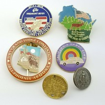 6 Fraternal Elks Lodge Club Pin Lot Brass Lapel Hat Post Foundation Conv... - $16.80