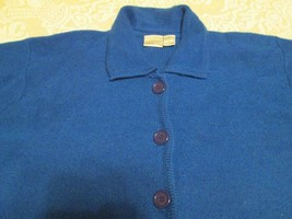 Womens Villager Liz Claiborne Royal Blue Cardigan Sweater XL Pure Wool - $40.00