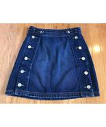 $228 Current/Elliot The Ballast Side Button Denim Skirt In Deep Lagoon S... - $49.47