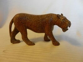 Vintage Hand Carved Wooden Saber Tooth Tiger Brown with Spots Folk Art - $51.98