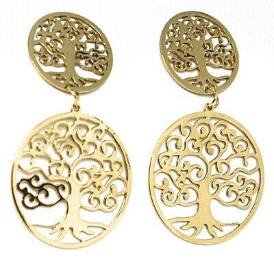 DROP EARRINGS YELLOW GOLD 750 18K, 2 DISCS CARVED, TREE OF LIFE