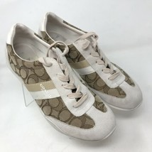 Coach Kelson Beige/Brown Suede Leather Logo Print Sneakers Shoes Womens ... - $39.55