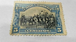 1 stamp of Chile, 1910, 5 Centavos, Battle of Maipu, Blue, see pictures - $1.97