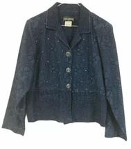 Saint Germain Petite Blue Blazer Size Large 100% Cotton 4 Button Sparkle - $42.07