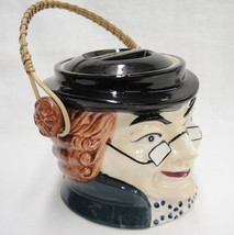 Wales China Figural Character Covered Jar Benjamin Franklin Pail Wicker ... - $22.27
