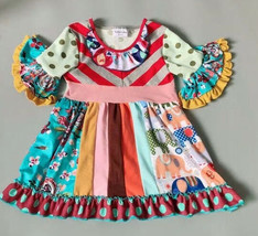 NEW Girls Boutique Multi-Print Short Sleeve Ruffle Dress 5-6 6-7 7-8 - $19.99