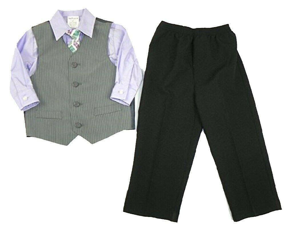 4T Boy's Vest Outfit Van Heusen 4-piece Suit Set with Shirt Pants Tie NEW