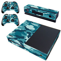 Regular Xbox One Console Vinyl Decals Stickers Skin Camo Blue Gray Camouflage - $12.47