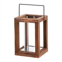 Rustic Garden Brown Wood Candle Lantern - $18.93
