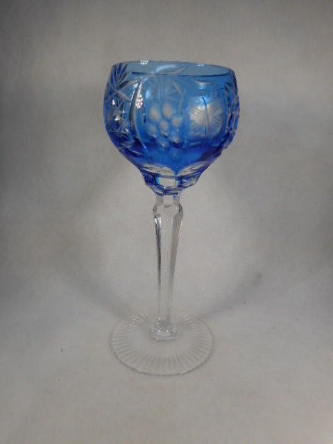 Vintage Sky Blue Bohemian Czech Glass Cut to Clear Wine Goblet