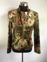 Vintage Joseph Ribkoff Jacket 10 M Green Brown Crushed Velvet Snakeskin ... - $69.29