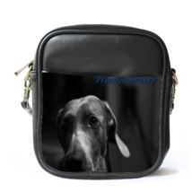 Sling Bag Leather Shoulder Bag Weimaraner Dog Black Design Animal Editio... - $14.00