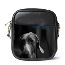 Sling Bag Leather Shoulder Bag Weimaraner Dog Black Design Animal Editions Video - $14.00