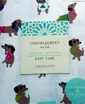 "Cynthia Rowley Dogs with Sunglasses Indoor/Outdoor Tablecloth 84"" Oblong - $41.00"