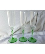 St. George Glendale Fluted Champagne Toasting Flutes Green Stems Cut Xs ... - $33.20