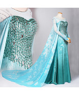 Elsa Dress, Elsa Cosplay costume, Elsa Blue Dresses Halloween Costume - $189.00