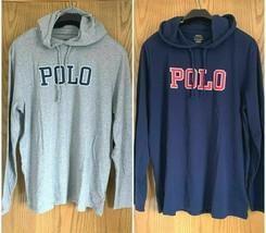 Polo Ralph Lauren Graphic Long-Sleeve Hoodie Tee Navy/Gray Lightweight L & XL - $36.99