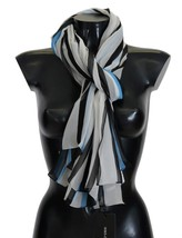 Dolce & Gabbana Authentic Blue White Striped Silk Scarf Retail USD $500.00 - £152.91 GBP