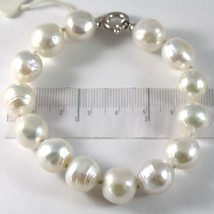 Bracelet or Blanc 750 18K, Fil de Perles Blanches Diamètre 12 mm, Long 20 CM image 1