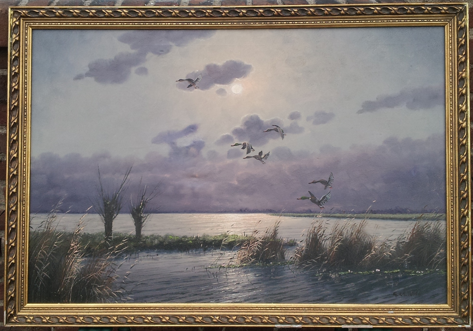 Primary image for DUCKS OVER A MARSH- SIGNED G V D VELDE (GIEN BROUWER)