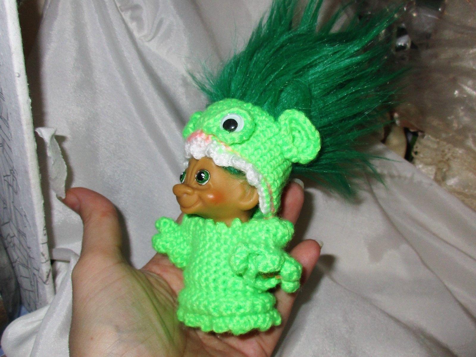 """Vintage Tab MONSTER TROLL 3"""" doll ooak New Green Hair Monster Costume Painted"""