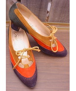 Vintage JOHANSEN PUMPS Multi-Colored Suede Leather Laceup 6AA Narrow* - $18.99