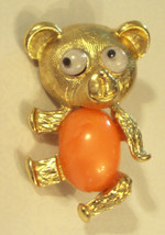 Teddy Bear Jelly Belly Pin Gold Plated Figural Brooch Moving Google Eyes VTG  - $19.76