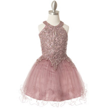 Mauve Halter Neck Sequin Embroidery Lace Tiered Tulle Mini Flower Girl D... - $58.00+