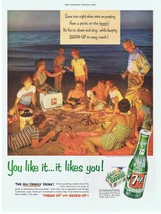 Original 1954 White 7-up COOLER at Family Beach Party Print Ad - $9.99