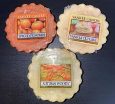 YANKEE CANDLE TART WAX MELTS LOT OF 3. Spiced Pumpkin, Vanilla Cupcake, ... - $6.64