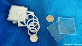 6 pcs Sponge Lining Square Coin Holders For 18 23 28 33 38mm White High Quality image 2