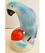 Asian Blue Ceramic Parrot With Red Ball Figurine Statue Made China  - $23.38