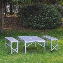 Portable Picnic Table Bench Set Outdoor Folding Garden Camping 3 pcs Alloy Set image 9