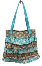 Vera Bradley Purse Totally Turquoise Handbag Cha Cha Ruffle Brown Retired - $32.30