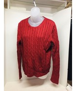 Argyle Women's L Pull Over Cable Knit Sweater Red 100% Cotton - $18.32