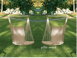 2 set White Cotton padded Swing hammock hanging outdoor Chair garden pat... - $65.94