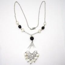 Collier en Argent 925, Onyx Noir,Perles Blanches, Pendentif Floral image 2