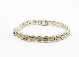 MEXICO 925 Silver - Vintage Smooth Petite Wrench Link Chain Bracelet - B6240 image 2